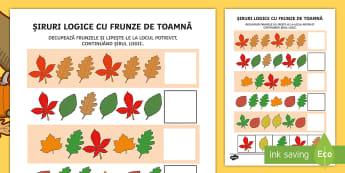 Siruri logice cu frunze de toamnă Fișă de activitate - gândire logică, matematică, activități de toamnă, motricitate fină, fișe,Romanian
