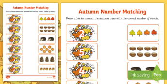 Autumn Themed Matching Activity Sheet - Autumn Themed Matching Activity Sheet - autumn, leaves,counting, amths, maths, numeracy, worksheet,