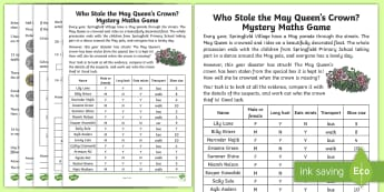 KS1 Who Stole the May Queen's Crown? Mystery Maths Game - Spring UK, maths, maths mystery game, numeracy, numeracy skills, mystery game, May day, May mystery