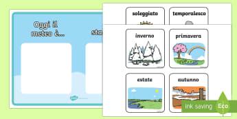 Meteo e Stagioni Poster - stagione, meteo, tempo, italiano, italian, poster, previsioni, nuvoloso, soleggiato, sole