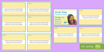 Mindful Me: Circle Time Emotion Cards English/Spanish - Mindfulness, meditation, calming, pastoral support, EAL,