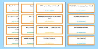 Common Core Kindergarten Reading Literature Question Stem Cards USA - American, comprehension, prompts, story, non-fiction, English
