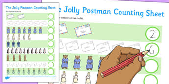 Themed 1-10 Counting Sheet to Support Teaching on The Jolly Postman - jolly postman, counting, sheet