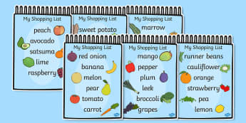 Fruit and Vegetable Shopping List Cards - shopping, list, fruit