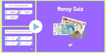 Money Maths PowerPoint Quiz - money, maths, powerpoint, quiz