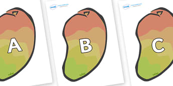 A-Z Alphabet on Mangoes - A-Z, A4, display, Alphabet frieze, Display letters, Letter posters, A-Z letters, Alphabet flashcards
