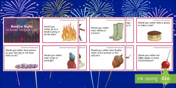 KS2 Bonfire Night Ice Breaker Cards - guy fawkes, opinions, questions and answers, decision making, events