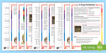 KS2 A Hung Parliament Differentiated Reading Comprehension Activity - General Election, parliament, prime minister, English, citizenship