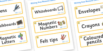 Sunshine Themed Editable Writing Area Resource Labels - Themed writing resource labels, literacy area labels, writing area resources, Label template, Resource Label, Name Labels, Editable Labels, Drawer Labels, KS1 Labels, Foundation Labels, Foundati