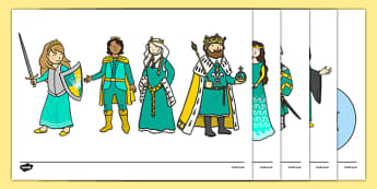 Fairy Tale Display Cut-Outs - fairy, tale, fairytale, story, traditional, display, cut, out, outs, illustrations, characters, princess, prince, king, queen, witch, wizard, fairy, dragon, ogre, warlock, castle