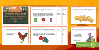 LKS2 Chinese New Year Multiplication and Division Challenge Cards - LKS2 maths, year 3, year 4, multiplication, division,maths skills, calculations, KS2, Chinese New Ye