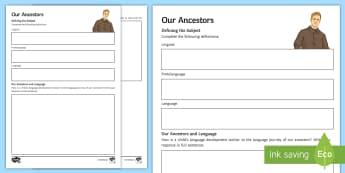 Development of English: Our Ancestors Go Respond Activity Sheet - Neanderthal, prehistory, origins of man, early man, early speech, origins of language, origins of sp