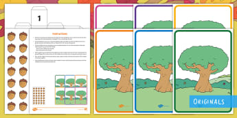 Little Acorns Are Falling Counting Activity  Resource Pack - Twinkl Originals, Twink Fiction, story, book, reading, Mathematics, Number, EYFS, counting, acorns,