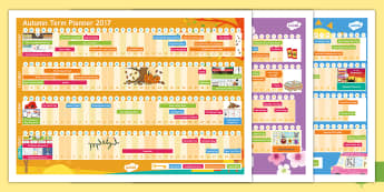 Academic Year 2017-2018 A3 Display Calendar - whole year calendar, dates, annual, planner, planning,