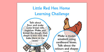 EYFS Little Red Hen Home Learning Challenge Sheet Nursery FS1 - little red hen