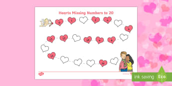 Valentine's Day Hearts Missing Numbers to 20 Activity Sheet - Valentine's Day,  Feb 14th, love, cupid, hearts, valentine, missing numbers, numbers to 20, number