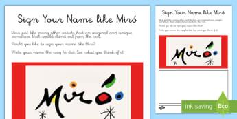 Sign Your Name like Miró Activity Sheet  - Miró, surrealism, art, drawing, painting, painter