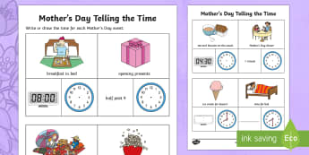 Year 1 Mother's Day Telling the Time Activity Sheet - Mother's Day Maths, maths, mother, mother's day, mum, Year 1, measurement and geometry, using unit