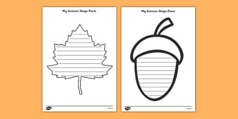 Autumn Themed Shape Poetry Templates - seasons, weather, poems
