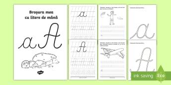 """Scrierea literelor """"a"""" și """"A"""" de mână Broșură cu activități  - alfabetul, scriere, litere, de mână, grafisme,Romanian"""