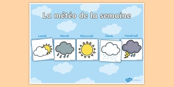 Calendrier d'affichage : La météo de la semaine - calendrier météo de la semaine, calendrier, météo, semaine, affichage, meteo, temps, Weekly Weat
