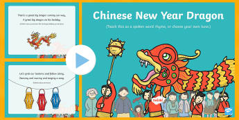 Chinese New Year Dragon Song PowerPoint - EYFS, Early Years, Key Stage 1, KS1, Chinese New Year, festivals, Spring Festival, dragon dance, red