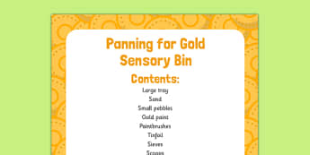 Panning for Gold Sensory Bin - St Patricks Day, EYFS, panning for gold, pan, gold