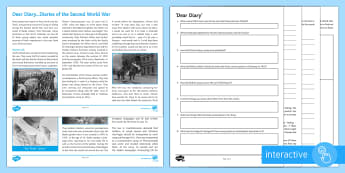 Diarists of the Second World War Differentiated Comprehension Go Respond  Activity Sheets  - Comprehensions KS3/4 English, reading, war, world war II, second world war, holocaust, Anne Frank, H
