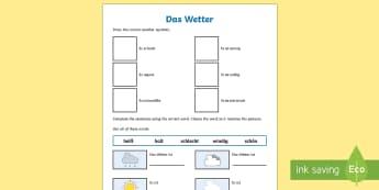 Weather Activity Sheet German - Weather, Wetter, German, mfl, ks2, worksheet, languages