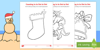 Christmas Counting in 6s Dot to Dot Colouring Pages - Christmas Australia, dot to dot, colouring pages, colouring, counting, multiple, maths, 6s, mathemat