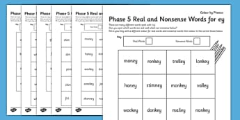 Phase 5 Colour By Phoneme Real and Nonsense Words Activity Pack - phase 5, colour, phoneme, pack
