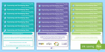 Language Content Descriptions: Expressing and Developing Ideas Display Posters - Expressing and Developing Ideas, sentence, compound, clauses, noun, phrases, prepositional phrases,