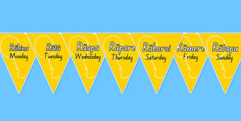 Māori Days of the Week Bunting - Māori, days of the week, nz, new zealand, time, day, weeks, language