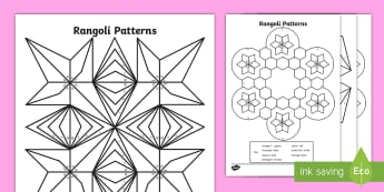 Rangoli Patterns Colour by 2D Shapes Colouring Pages - Mindfulness, Diwali, Maths, numeracy, Indian, Colouring Sheets, Key Stage Two, worksheet