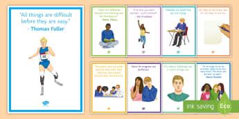 Growth Mindset Posters Display Pack - growth mindset, change mindset, challenge, belief, strength, targets, improve