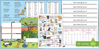 Year 2 Cat Themed Spelling Menu Pack - spag, gps, home learning, weekly, lists, test