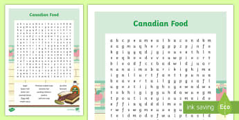 Canadian Cuisine Word Search - canada, food, poutine, bagel, culture, cooking, geography, topic