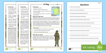 KS2 D-Day  Differentiated Reading Comprehension Activity - WW2, world war 2, normandy, churchill, d day, non-fiction, history, year 6