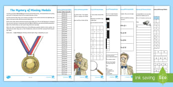 UKS2 The Mystery of the Missing Medals Maths Game - decimals, percentage, shape, roman numerals, murder mystery