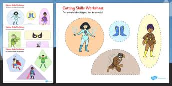 Superhero Themed Cutting Skills Worksheets - fine motor skills