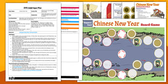 Chinese New Year 2D Shape Board Game EYFS Adult Input Plan and Resource Pack - plans, chinese new year