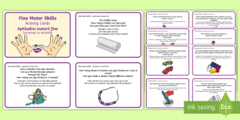 Fine Motor Skills Activity Cards English/Romanian - challenges, detail, steady, hand, puzzles, EAL