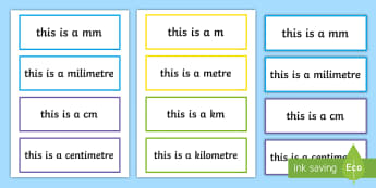 Length Units of Measurement Display Labels - measures, maths, display, length, centimetres, metres, millimetres, measuring
