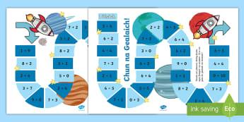 Chun na Gealaich Geama - cfe, First level, maths, addition to 10, cur-ris gu 10, game, geama,Scottish