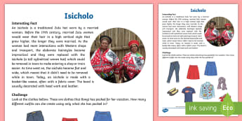 Isicholo Activity Sheet - an amazing fact a day, sorting, data handling, Isicholo, hats, clothing, interesting facts, Traditio