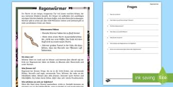 Regenwürmer Leseverstehen Arbeitsblätter - Lesen, Leseverständnis, Übung, Wurm, Tiere, Waldtiere, Wald, Boden, ,German