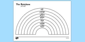 The Rainbow Colours Colouring Sheet Arabic Translation - arabic, rainbow, colours, colouring, sheet