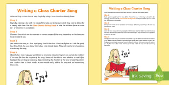 KS1 Write a Class Charter Song Guide - rules, behaviour, back to school, class management, y1 and y2