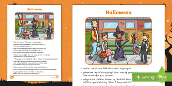Halloween Oral Language Activity Sheet - Oral Language Activity Sheets, talk and discussion, listening skills, talk about the picture, Hallow