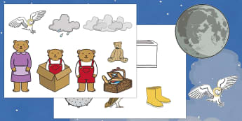 Story Cut Outs to Support Teaching on Whatever Next! - Whatever Next!, Jill Murphy,  resources, space, baby bear, Large family, rocket, moon, owl, story, story book, story book resources, story sequencing, story resources, cut out